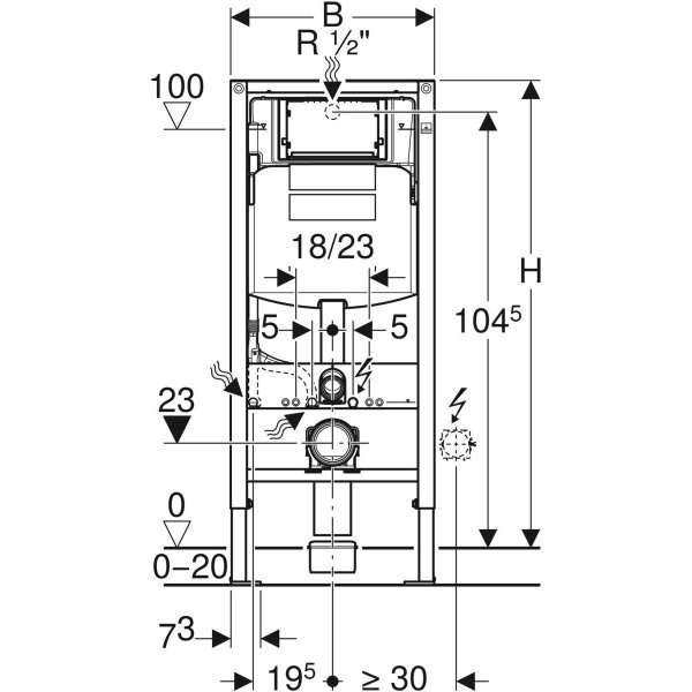 Geberit Duofix WC-Element mit Sigma UP-Spülkasten 120 mm, Bauhöhe ...